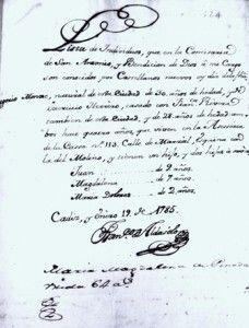Padrón de los Monge en 1785. Todavía no había nacido El Planeta. Sí tres de sus hermanos: Juan, Magdalena y Dolores, la madre del gaditano Lázaro Quintana.